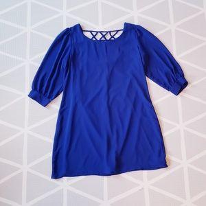 Derek Heart Cobalt Lattice Back Mini Shift Dress